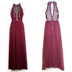 Marineblu Burgundy Boho Tribal Beaded Maxi Dress